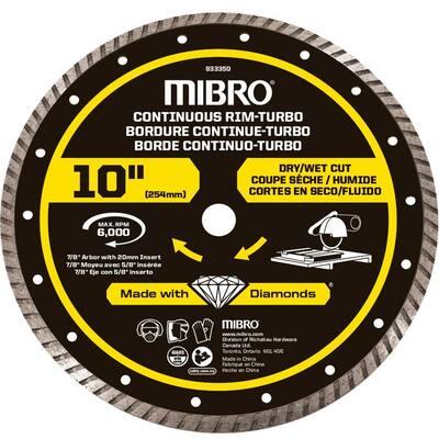 10 in. Continuous Rim Turbo Diamond Blade