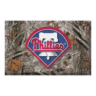 MLB - Philadelphia Phillies 19 in. x 30 in. Outdoor Camo Scraper Mat Door Mat