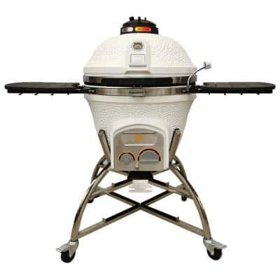 Elite Series XD702 Maxis Ceramic Charcoal Kamado in White with Grill Cover