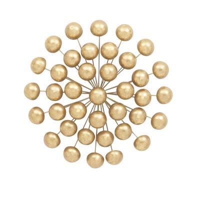 Modern Iron Gold-Finished Ball Burst Wall Decor