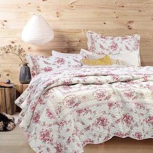 Floral Rose Vintage Toile Scalloped 3-Piece Cream Pink Cotton King Quilt Bedding Set