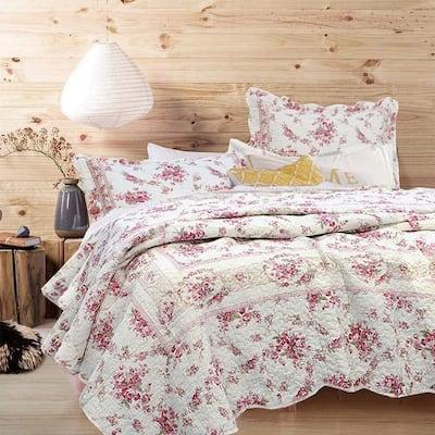 Floral Rose Vintage Toile Scalloped 3-Piece Cream Pink Cotton Queen Quilt Bedding Set