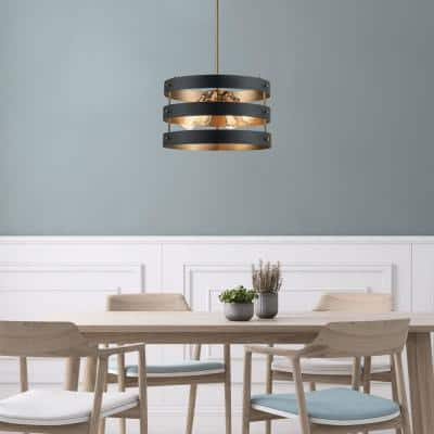 Monteaux 4-Light Black and Antique Gold Drum Pendant with Metal Shade