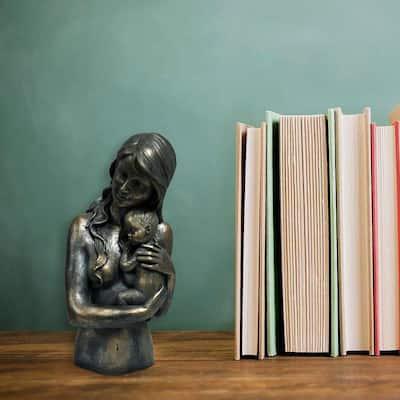 Women Holding Child Patina Black Statue Sculpture