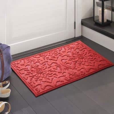 A1HC Brocade Red 24 in. x 36 in. Eco-Poly Scraper Mats with Anti-Slip Fabric Finish and Tire Crumb Backing