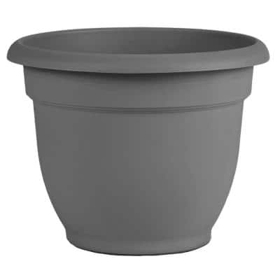 Ariana 11 in. Charcoal Grey Plastic Self-Watering Planter