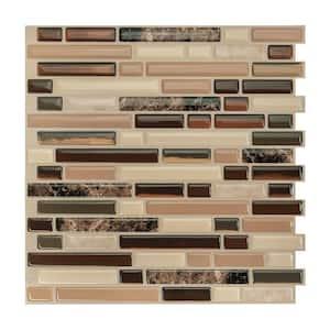 Bellagio Multi Brown 10.06 in. x 10 in. Vinyl Peel and Stick Tile (2.38 sq. ft./ 4-pack)