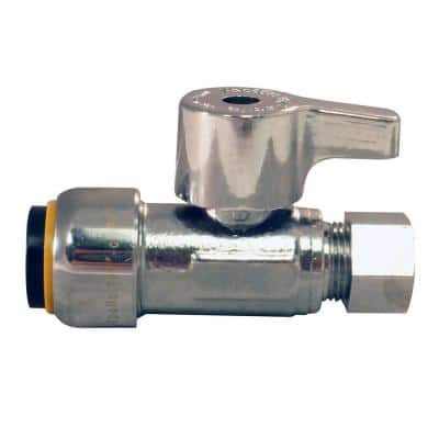 1/2 in. Chrome-Plated Brass Push-to-Connect x 3/8 in. Compression Quarter-Turn Straight Stop Valve