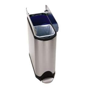 40-Liter Fingerprint-Proof Brushed Stainless Steel Butterfly Step-On Recycling Trash Can