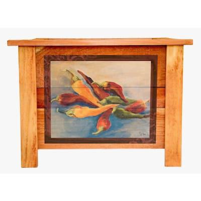 Hollis 22 in. Cedar Planter with Vintage Chiles Art