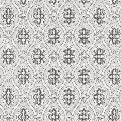 Pigkammaren Dark Brown Ogee Dark Brown Wallpaper Sample