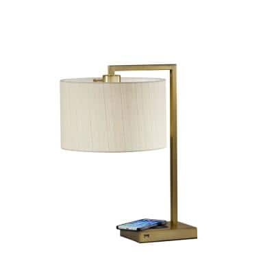 Austin 21 in. Antique Brass Table Lamp with Qi Wireless Charging