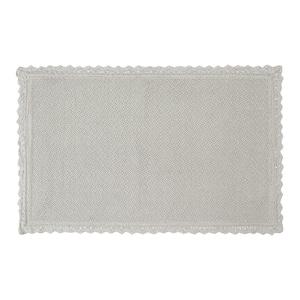 Reversible Crochet Beaded 17 in. x 24 in. Bath Rug, Light Gray