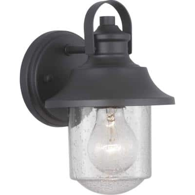 Weldon Collection 1-Light Textured Black Clear Seeded Glass Farmhouse Outdoor Small Wall Lantern Light