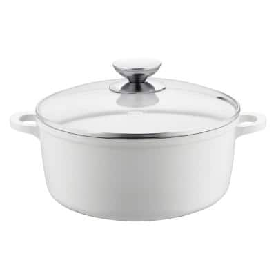 Vario Click Pearl 4.25 qt. Round Cast Aluminum Ceramic Nonstick Dutch Oven in White with Glass Lid