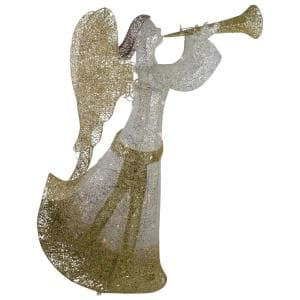 44 in. Cotton Thread LED Lighted Gold and Silver Glitter Angel Outdoor Christmas Decoration