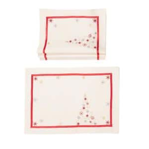 0.1 in. H x 20 in. W x 14 in. D Festive Christmas Tree Embroidered Double Layer Christmas Placemats (Set of 4)
