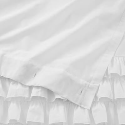 72 in. White Ruffled Shower Curtain