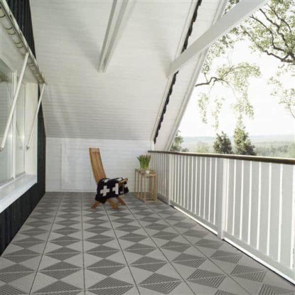 Bergo Unique 14 9 In X 14 9 In Gray Polypropylene Garage Floor Tile 54 Sq Ft Case Uitilegy The Home Depot
