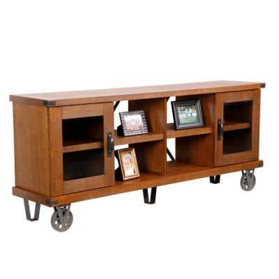 Industrial Collection 72 in. Hewn Pallet Wood TV Stand Fits TVs Up to 72 in. with Storage Doors
