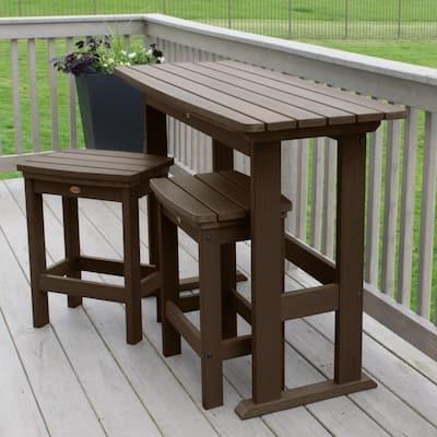 Lehigh Weathered Acorn 3-Piece Plastic Rectangular Bar Height Outdoor Dining Set
