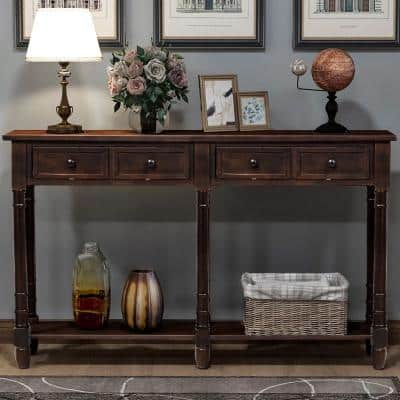 58 in. Espresso Standard Rectangle Wood Console Table with Drawer