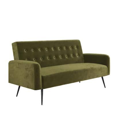 Stevie Convertible Sofa Bed Futon in Green Velvet