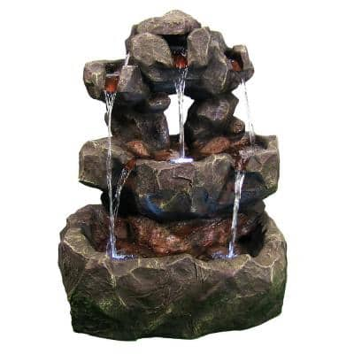 32 in. Layered Rock Outdoor Waterfall Fountain with LED Lights