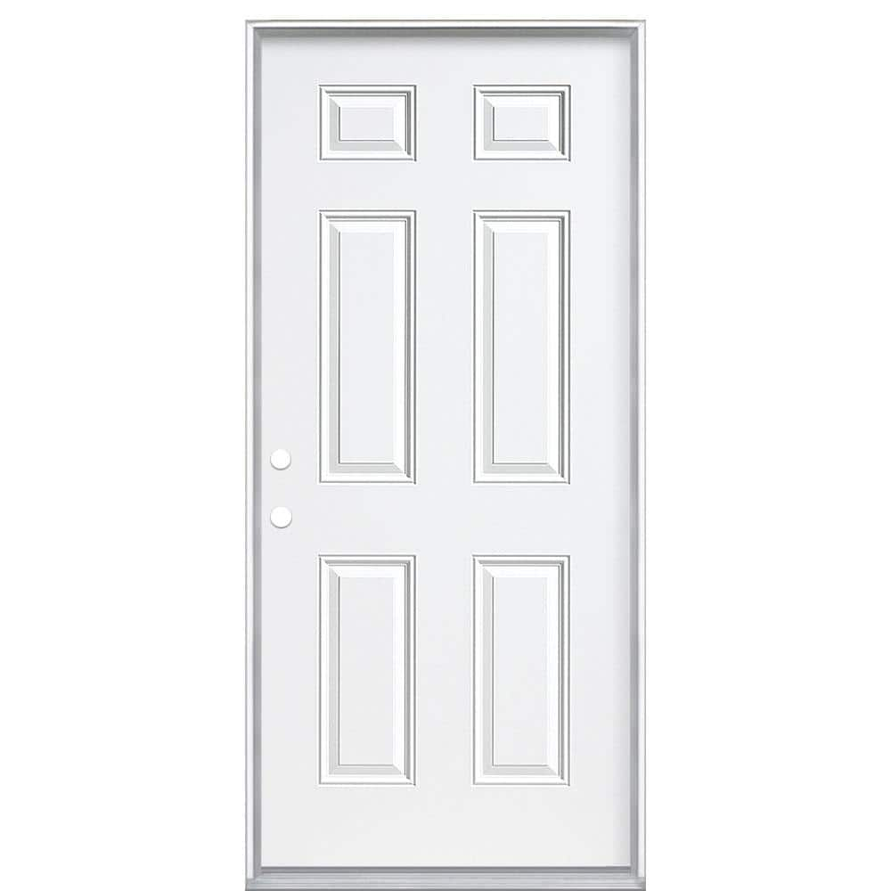Masonite 36 In X 80 In 6 Panel Right Hand Inswing Primed Steel Prehung Front Exterior Door No Brickmold 45739 The Home Depot