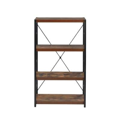 43 in. Weathered Oak Metal 4-shelf Etagere Bookcase with Open Back