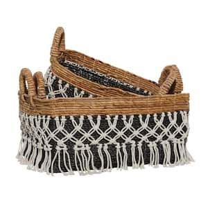 23 in. D x 22 in. H x 18 in. W Black Cotton Natural Storage Basket (Set of 3)