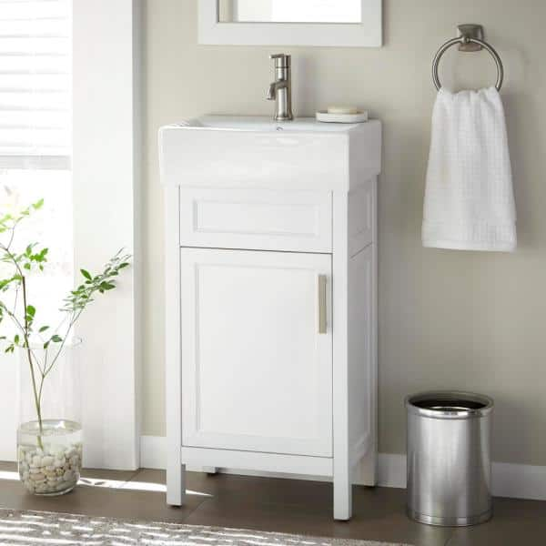 Home Decorators Collection Arvesen 18 In W X 12 In D Vanity In White With Ceramic Vanity Top In White With White Sink Arvesen 18w The Home Depot
