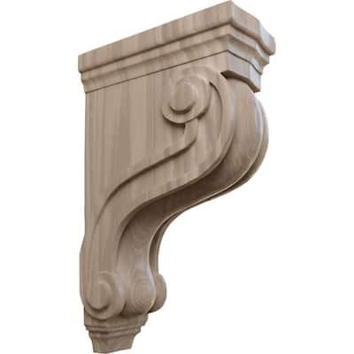 3-7/8 in. x 8 in. x 13 in. Unfinished Wood Walnut Boston Traditional Scroll Corbel