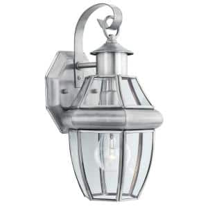 Heritage 1-Light Brushed Nickel Outdoor Wall-Mount Lantern Sconce