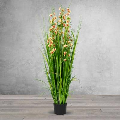 5 ft. High Artificial Reed with Decorative Yellow and Pink Flowers