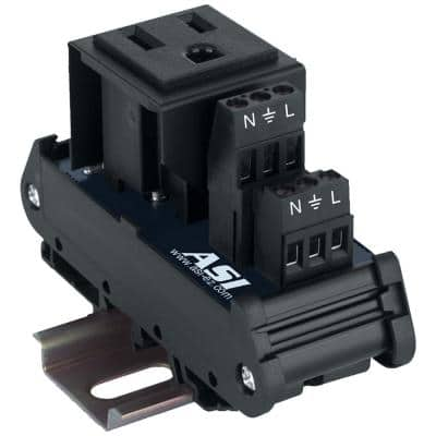 15 Amp 125 Vac DIN Rail Mounted AC Outlet