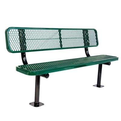 Surface Mount 6 ft. Green Diamond Commercial Park Bench with Back