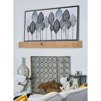 """""""Black and White Veined Leaves"""" Hand Painted Framed Canvas Wall Art"""