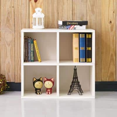 24.8 in. White Wood 4-shelf Standard Bookcase with Cubes