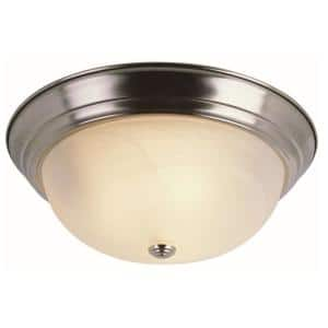 Browns 13 in. 2-Light Brushed Nickel Flush Mount with White Marbleized Glass Shade