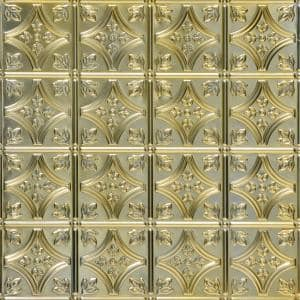 Tiny Tiptoe 2 ft. x 2 ft. Nail Up Tin Ceiling Tiles in Gold Nugget (48 sq. ft. / box)