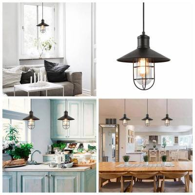 Pendant Lighting 1-Light Black Mini Pendant with Modern Industrial Metal Wire Cage Shade Barn Ceiling Pendant Light