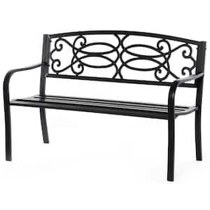 Black Steel Outdoor Park Bench Cast Iron Scrollwork Backrest Garden Lawn Decor