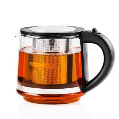 3.4-Cup Black Glass Tea Kettle with Tea Infuser for Loose-Leaf Tea, Compatible with KG612S (FGK27B)