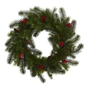 24 in. Pine and Berry Artificial Wreath
