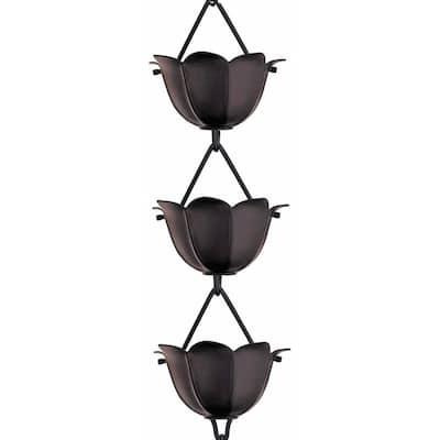 Monarch 8-1/2 ft. L Black Powder Coated Aluminum Lotus Rain Chain