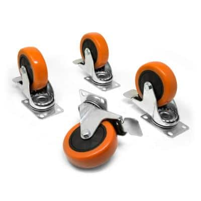 3 in. 220 lbs. Capacity Polyurethane Single-Bearing Swivel Plate Caster with Brake (4-Pack)