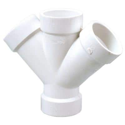 1-1/2 in. PVC DWV 45-Degree All Hub Double Wye Fitting
