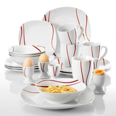 Felisa 20-Piece Modern Ivory white with red edge Porcelain Dinnerware Set (Service for 4)