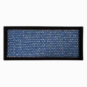 34.5 in. x 14 in. x 1.5 in. Black Metal Boot Tray with Blue & Ivory Coir Insert